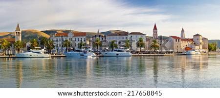 UNESCO town of Trogit seafront view, Dalmatia, Croatia - stock photo