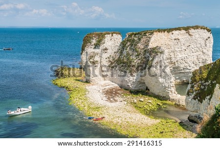 Unesco world heritage - Old Harry Rocks in Isle of Purbeck (Jurrasic coast) - stock photo