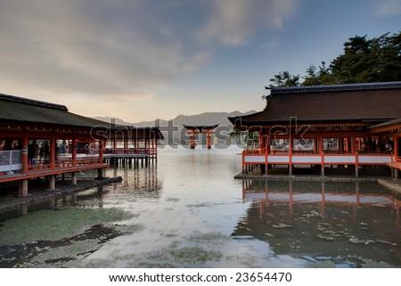Unesco world heritage shrine in Miyajima, Japan - stock photo