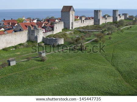 Unesco world heritage site visby in sweden - stock photo
