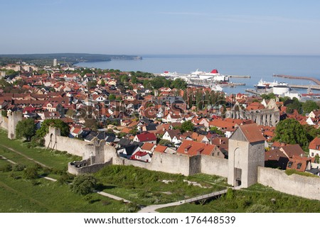 Unesco world heritage Visby city wall on the island Gotland in the Balticsea in Sweden - stock photo