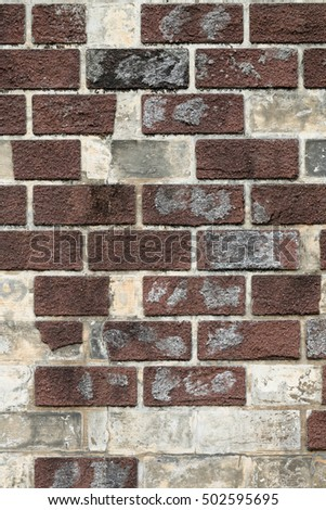 uneven and shabby old brick wall texture background