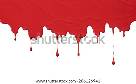 uneven red paint drips, use as background - stock photo