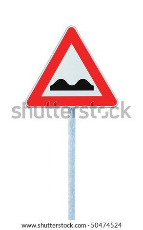 Uneven Road Sign With Pole, isolated on white - stock photo