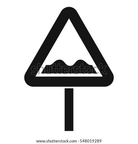 Uneven triangular road sign icon. Simple illustration of uneven triangular road sign  icon for web