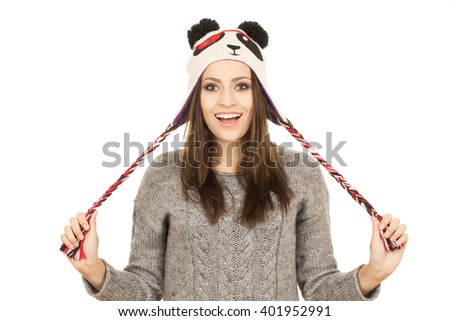Unexpected surprise. Horizontal shot of a surprised pretty hipster female isolated on white. - stock photo