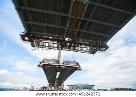 Unfinished bridge - stock photo