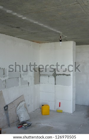 Unfinished building interior - stock photo