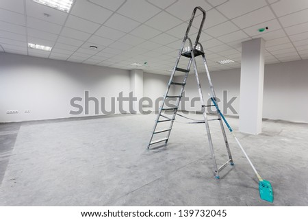 Unfinished building interior, white room. - stock photo