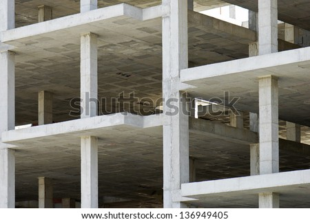 unfinished building made with precast concrete slabs - stock photo