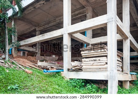 Unfinished building on the hill of temple. - stock photo