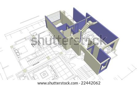 architecture blueprints 3d. Unfinished 3D House Mock-up On Top Of Architecture Blueprints 3d