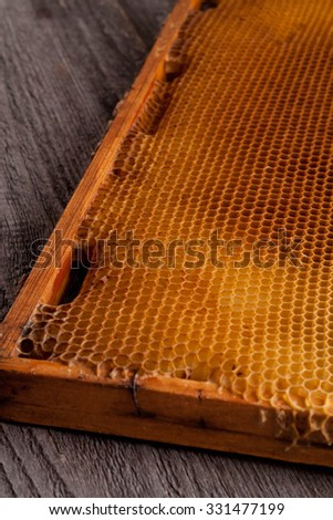 unfinished honey making in honeycombs, close up, vertical - stock photo