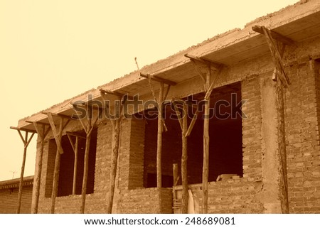 Unfinished houses in rural area, north china - stock photo