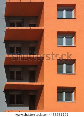 Unfinished orange building Under Construction - stock photo