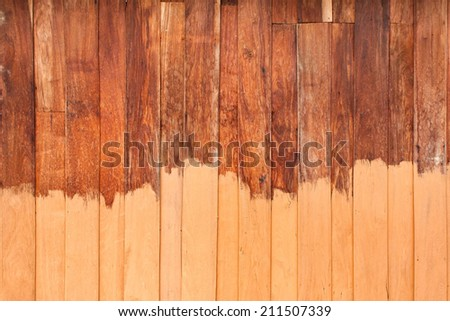 Unfinished paint wooden planks texture, wood background - stock photo