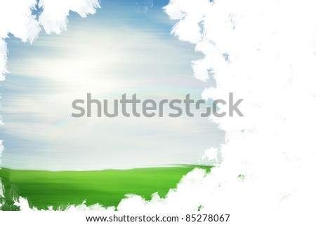 Unfinished painting with copy space - stock photo
