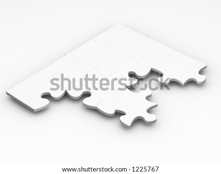 Unfinished puzzle - 3D render - stock photo