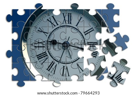 unfinished puzzle with a clock inside - stock photo