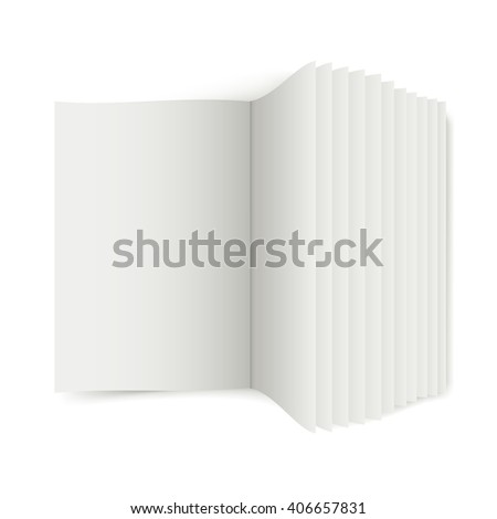 Unfolded book with white sheets for the presentation of articles or advertising, 3D book - stock photo