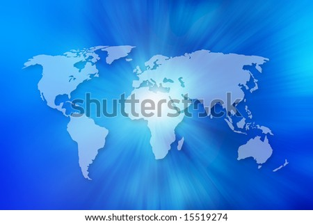unfolded map of the world with blue background