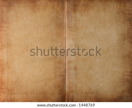 Unfolded old ancient book cover - smudged parchment paper texture background - stock photo