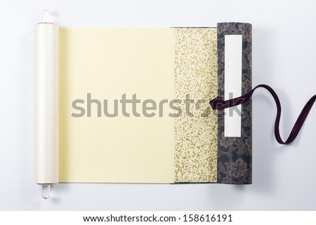 unfolded traditional japanese scroll - stock photo