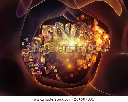 Unfolding Symmetry series. Backdrop of  numbers, graphic elements, lights to complement your design on the subject of  metaphysics, science and modern technology - stock photo