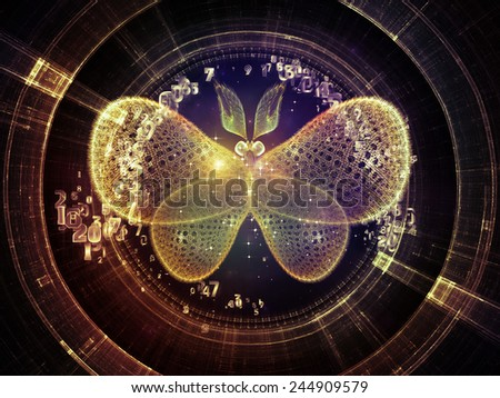 Unfolding Symmetry series. Background composition of  numbers, graphic elements, lights to complement your layouts on the subject of  metaphysics, religion, philosophy, science and modern technology - stock photo
