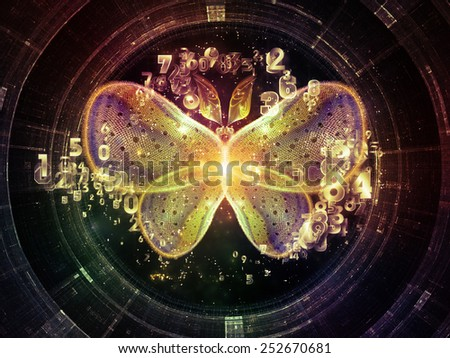 Unfolding Symmetry series. Creative arrangement of numbers, graphic elements, lights as a concept metaphor on subject of  metaphysics, religion, philosophy, science and modern technology - stock photo