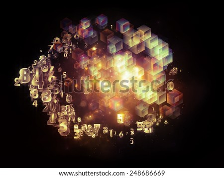 Unfolding Symmetry series. Graphic composition of numbers, graphic elements, lights to serve as complimentary design for subject of  metaphysics, science and modern technology - stock photo