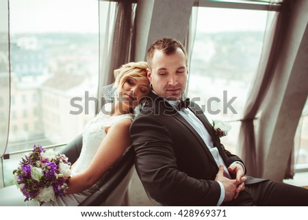 unforgettable day two beautiful young lovers - stock photo