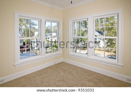 unfurnished bedroom with view, place your own furniture - stock photo