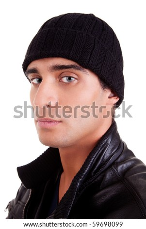 unhappy boy with a hood; isolated on white background. studio shot - stock photo
