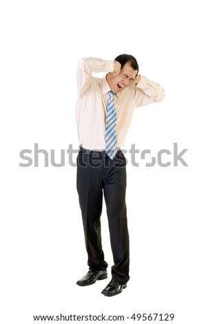 Unhappy businessman of Asian under stress standing on white background. - stock photo