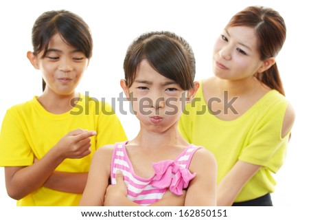 Unhappy children with mother - stock photo