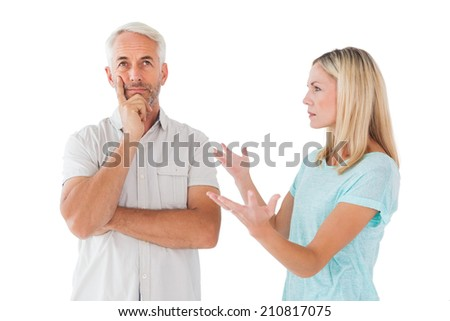 Unhappy couple having an argument with man not listening on white background