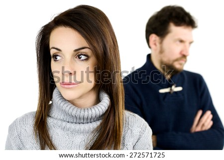Unhappy couple thinking about separation - stock photo