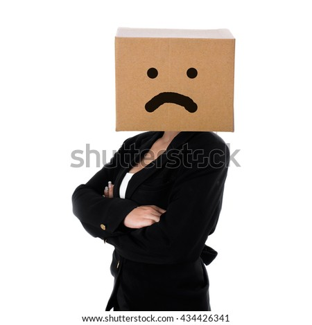 Unhappy face on box, business woman on white background, business conceptual - stock photo