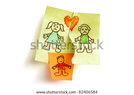 Unhappy family and child custody battle concept sketched on sticky note paper - stock photo