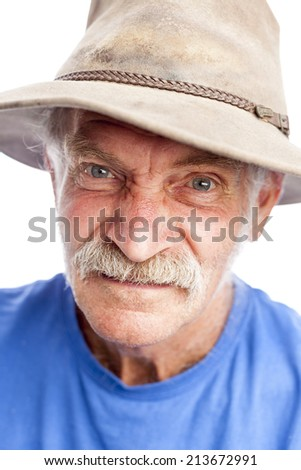 Unhappy farmer - stock photo