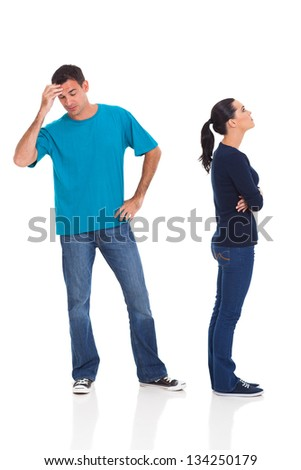 unhappy husband and wife arguing isolated on white background - stock photo