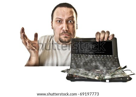 unhappy man in bruises injured from the fried laptop - stock photo