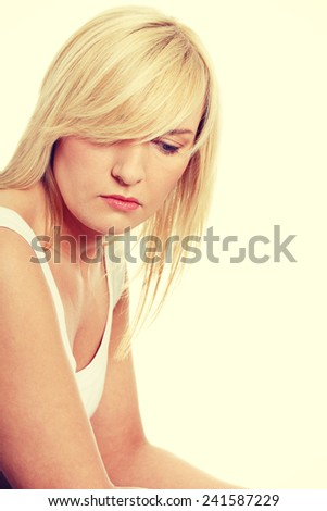 Unhappy mature woman in depression