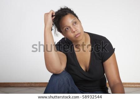 unhappy woman - stock photo