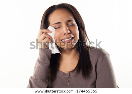 unhappy woman crying - stock photo