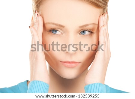 unhappy woman holding her head with hands. - stock photo