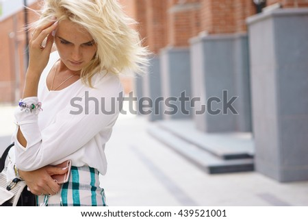 Unhappy worried thinking woman. - stock photo