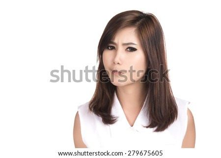 Unhappy young Asian woman,Closeup portrait of beautiful Asian woman,Thai girl,Negative human emotion facial expression,isolated on white background - stock photo