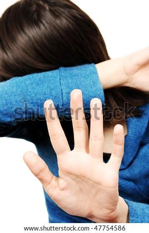 Unhappy young woman - stock photo